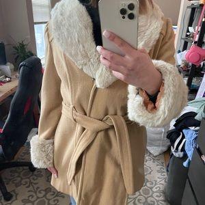 Wool Blend and Fur Tie Waist Coat